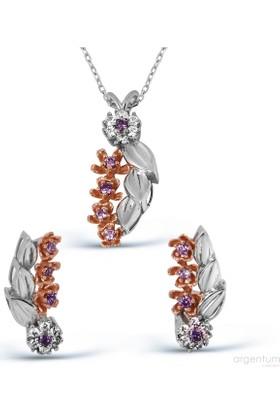 Argentum Concept Dal Motifli Gümüş Çiçek Set