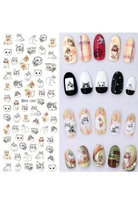 Hane14 Kedi Desenli Nail Art Tırnak Sticker