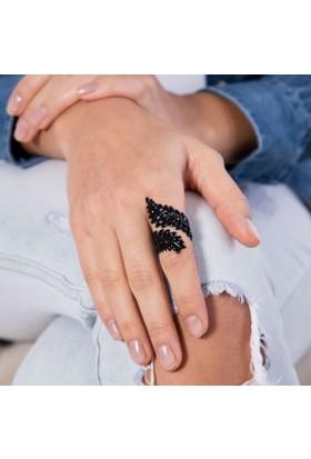 Modex Siyah Kaplama Ayarlanabilir Yaprak Yüzük