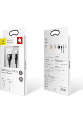 Baseus Işıklı 2.A MFİ Lisans Apple Lightning Şarj Kablosu