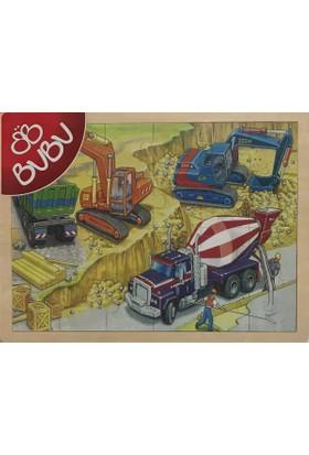 Bubu 24 Parça İnşaat Ahşap Puzzle (40x30 cm)