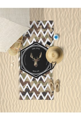 Beechbird Deer Life Kamuflaj Desenli Özel Tasarım Unisex Plaj Havlusu