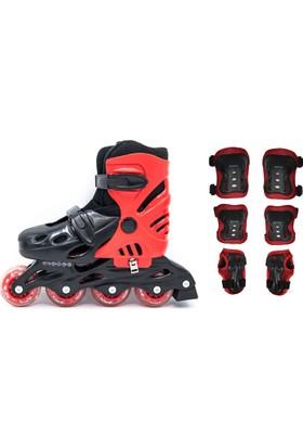 Delta Inline Skate Paten ve Koruyucu Set Siyah - Kırmızı SKN 19