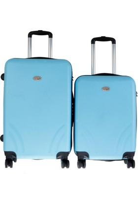 TUTQN Kırılmaz Plastik Bavul 2'Li Valiz Set %100 PP Turkuaz