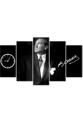 Hepsiburada Home Atatürk 5 Parça Saatli Kanvas Tablo