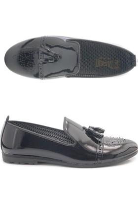 Corcuk 001 Erkek Siyah Rugan Püskül Corcuk Ayakkabı