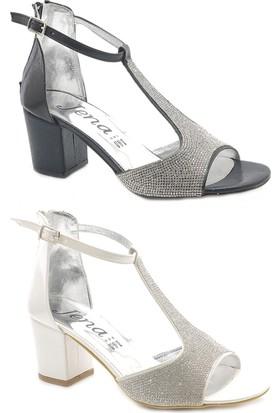 Jena W6030 Taşlı Kare Topuk Bayan Ayakkabı