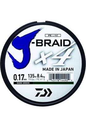 Daiwa J-Braid 4 Kat 135mt Koyu Yeşil Örgü İp Misina 0,17 mm