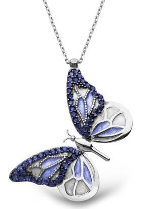 Alışverişrengi Mineli Kelebek Gümüş Kolye