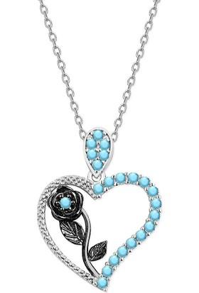 Alışverişrengi Kalbimin Gülü Gümüş Kolye