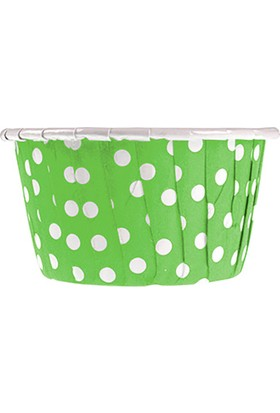 Yeşil Puantiyeli Kek Kapsülü (50 Adet)