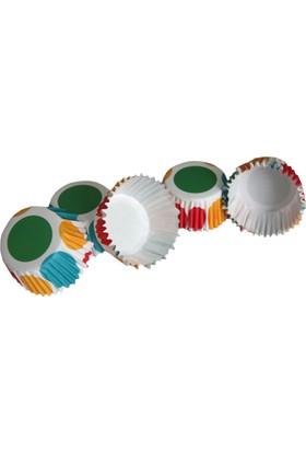Renkli Puantiyeli Fırfırlı Kek Kapsülü (100 Adet)