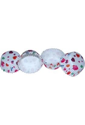 Renkli Kalpler Fırfırlı Kek Kapsülü (100 Adet)