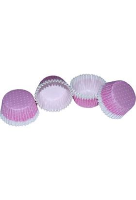 Pembe Puantiyeli Fırfırlı Kek Kapsülü (100 Adet)