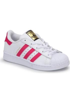 Adidas Superstar Foundation C Beyaz Pembe Kız Çocuk Sneaker Ayakkabı