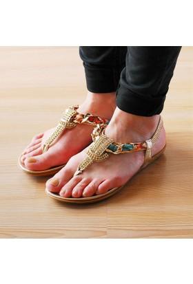 Guja Kadın Renkli Kumaşlı Terlik Sandalet 17Y414 2 03