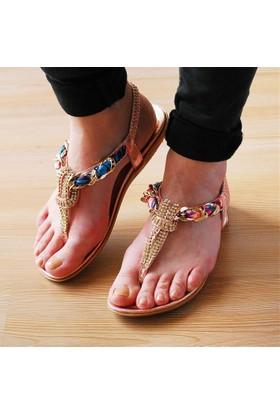 Guja Kadın Renkli Kumaşlı Terlik Sandalet 17Y414 2 01
