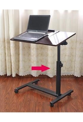 Hodbehod Yerden Yükseklik Ve Eğim Ayarlı Mouse Bölmeli Tekerli Laptop Sehpası Bilgisayar Masası