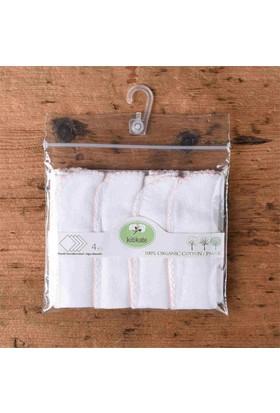 Organic Baby Center Beyaz&Pembe 4'lü Ağız Mendili