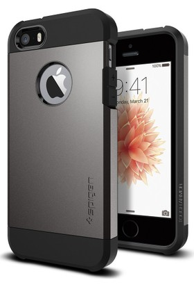 Spigen Apple iPhone Se/5S/5 Kılıf Tough Armor Gun Metal Darbelere Karşı Koruma