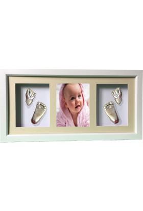 Küçük İzler Beyaz Çerçeveli, Resimli, 3 Bölmeli, Aljinat ile 3boyutlu Bebek 2 El - 2 Ayak İzi Heykeli Seti