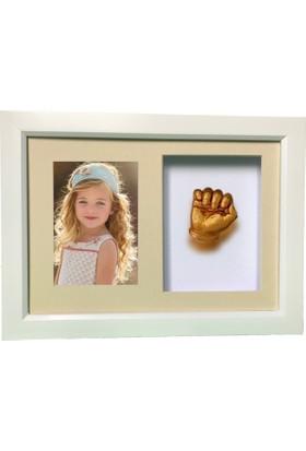 Küçük İzler Beyaz Çerçeveli, Resimli Aljinat ile 3 boyutlu Çocuk El İzi Heykeli Seti