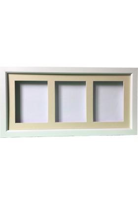 Küçük İzler Beyaz Resimli, 3 Bölmeli Çerçeve ( 25 x 55 Cm )