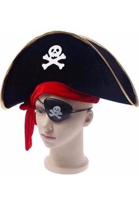 PartiStok Çocuk Korsan Şapka Göz Bandı Seti
