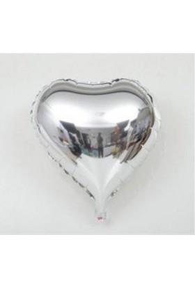 PartiStok Kalp Balon Folyo Gümüş