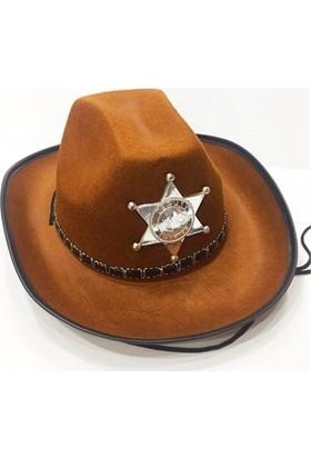PartiStok Çocuk Kovboy Şapkası Sheriff Şapkası Kahverengi