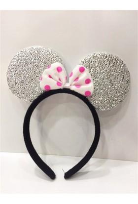 PartiStok Gümüş Minnie Mouse Tacı Simli