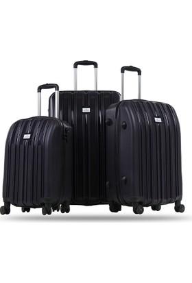 Noble Wınd Lıne Kırılmaz 8 Tekerlekli Üçlü Valiz Seti Mrdm Rzn001