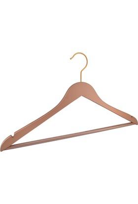 NYN Ahşap 6'lı Bakır Barlı Elbise-Gömlek-Pantolon Askısı