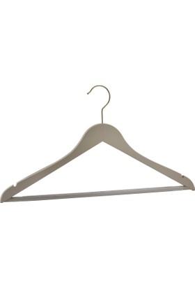 NYN Ahşap 6'lı Gri Bej Barlı Elbise-Gömlek-Pantolon Askısı