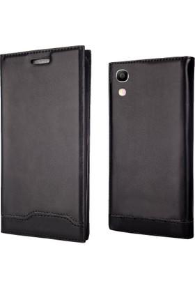 Coverzone Alcatel Shine Lite Kılıf Siyah Magnum Vip Kapaklı + Koruyucu
