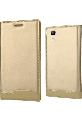 Coverzone Alcatel Shine Lite Kılıf Gold Magnum Vip Kapaklı + Koruyucu + 3D Araç Kokusu