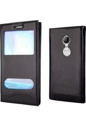 Coverzone Lg Stylus 3 Kılıf Kılıf Siyah Pencereli Magnum Vip Kapaklı + 3D Araç Kokusu