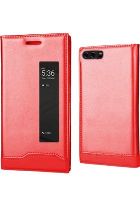 Coverzone Huawei P10 Kılıf Kırmızı Pencereli Magnum Vip Kapaklı