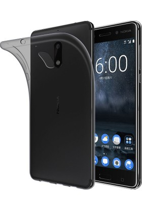 Coverzone Nokia 6 Kılıf 0,2 Mm Antrasit Silikon + Cam