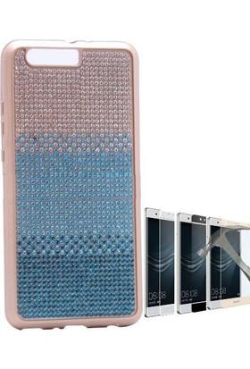 Teleplus Huawei P10 Plus Tam Taşlı Silikon Kılıf + Tam Kapatan Cam Ekran Koruyucu