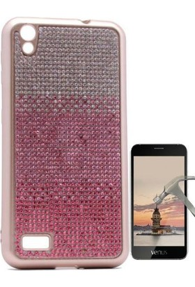 Teleplus Vestel V3 5040 Taşlı Silikon Kılıf + Cam Ekran Koruyucu