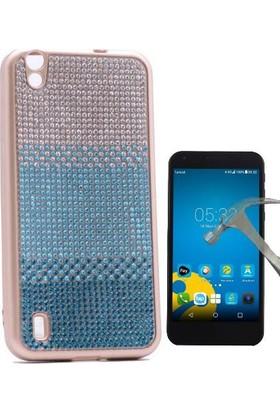 Teleplus Vestel V3 5000 Taşlı Silikon Kılıf + Cam Ekran Koruyucu