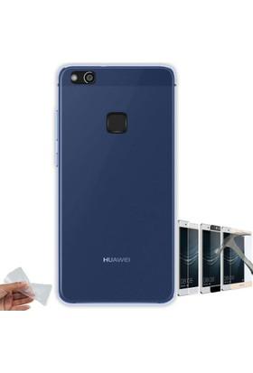 Teleplus Huawei P10 Lite ince Silikon Kılıf + Tam Kapatan Cam Ekran Koruyucu