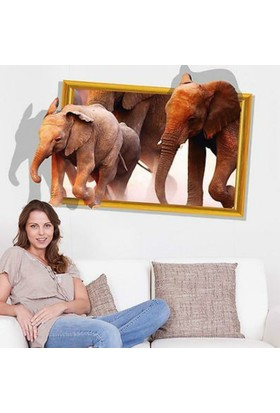 BigWall Dev Fil Sticker Üç Boyutlu Filler 3D Elephant Duvar Stickerı Wall Sticker
