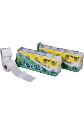 Nergis Süper Soft Tuvalet Kağıdı 10 Rulo 60 adet