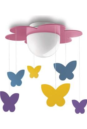 Philips Meria 400962816 Çocuk Odası Renkli Kelebekli Pembe Sarkıt