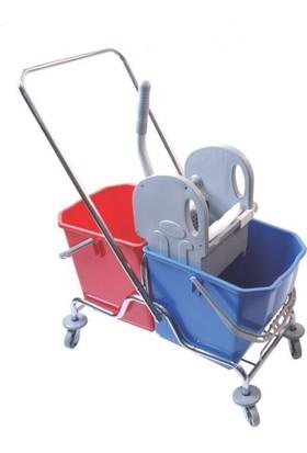 Hafea Lüks Temizlik Arabası Çift Kovalı Krom Taşıyıcılı Sıkma Presli