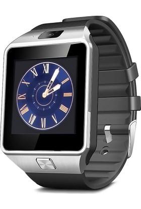 Case 4U Kameralı Akıllı Saat Gümüş Samsung iPhone Sony LG HTC DZ09 (IOS ve Android Uyumlu)