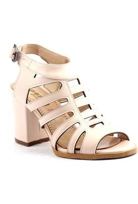 Perim A10 Günlük Günlük Cilt 8 CM Bayan Topuklu Sandalet