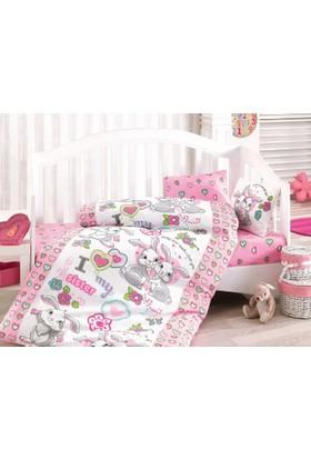 Cottonbox Ranforce Bebek Nevresim Takımı Tavşan Kardeş Pembe